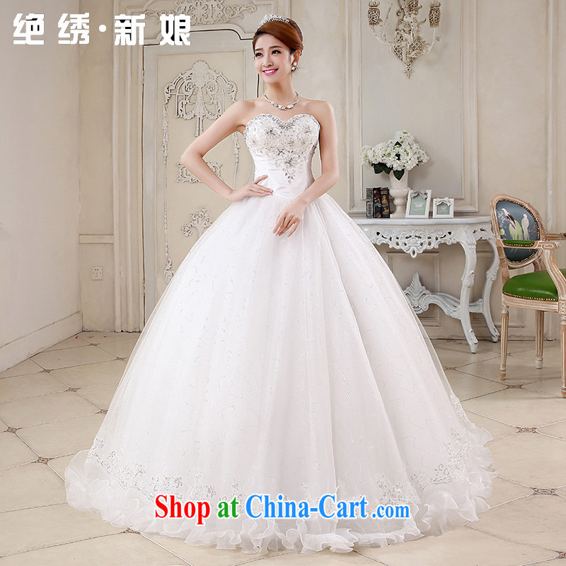 There is embroidery bridal 2015 new spring and summer Korean wiped his chest strap with wood drill bridal wedding dresses white XXXL Suzhou shipping