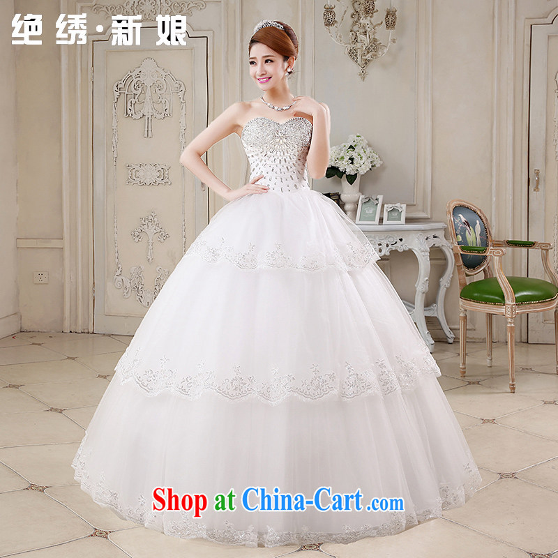 2015 new luxury parquet drill wiped chest strap wedding dresses lace Princess with graphics thin diamond jewelry bridal wedding, bride with white XXXL Suzhou shipping