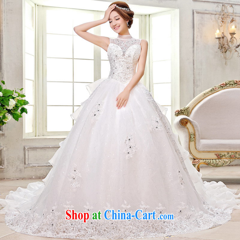 Mrs Alexa Lam unpunished new mount also bridal wedding dresses new 2014 Korean-style is also long-tail strap embroidered 15,681 white L _2.4_