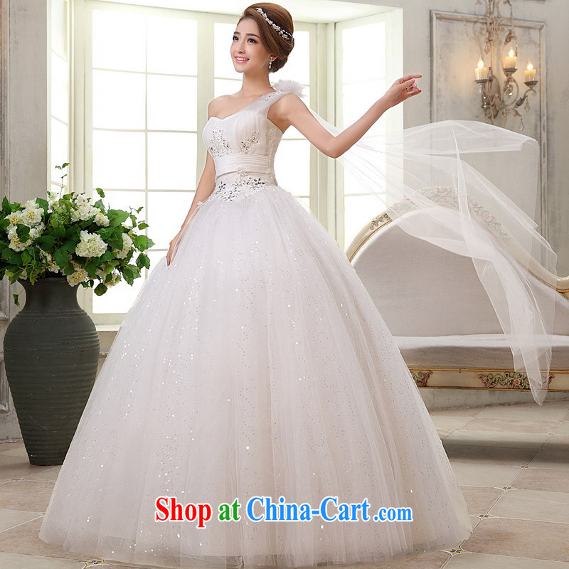 Mrs Alexa Lam go scot wedding dresses new 2014 single shoulder with shaggy skirt ribbons elegant graphics thin married Yi 66,382 white L _2.4_