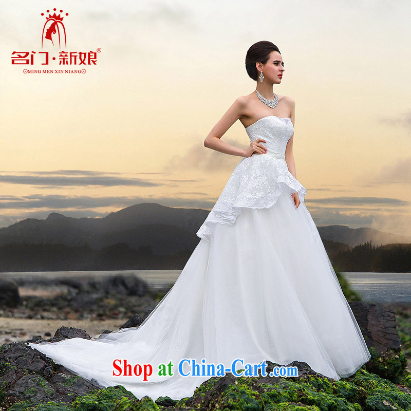 The bride's 2015 new tail wedding luxury Olympic drill manual lace tail wedding video thin A L 536