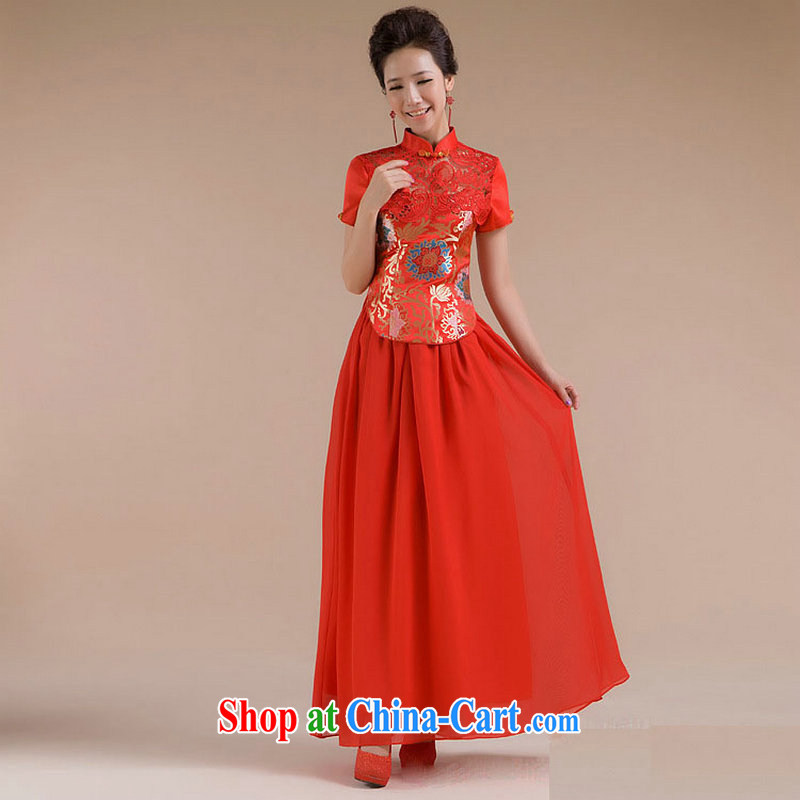 There's a new paragraph short and cultivating beautiful floral gauze long skirt dress XS 7109 red XXL