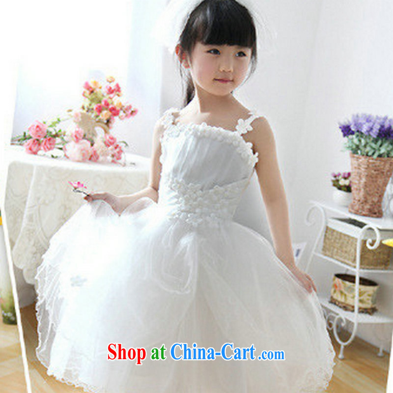 There's a flower girl dress kids Princess dress girls birthday dresses shaggy skirts dresses children show a uniform XS 1028 white 10 yards