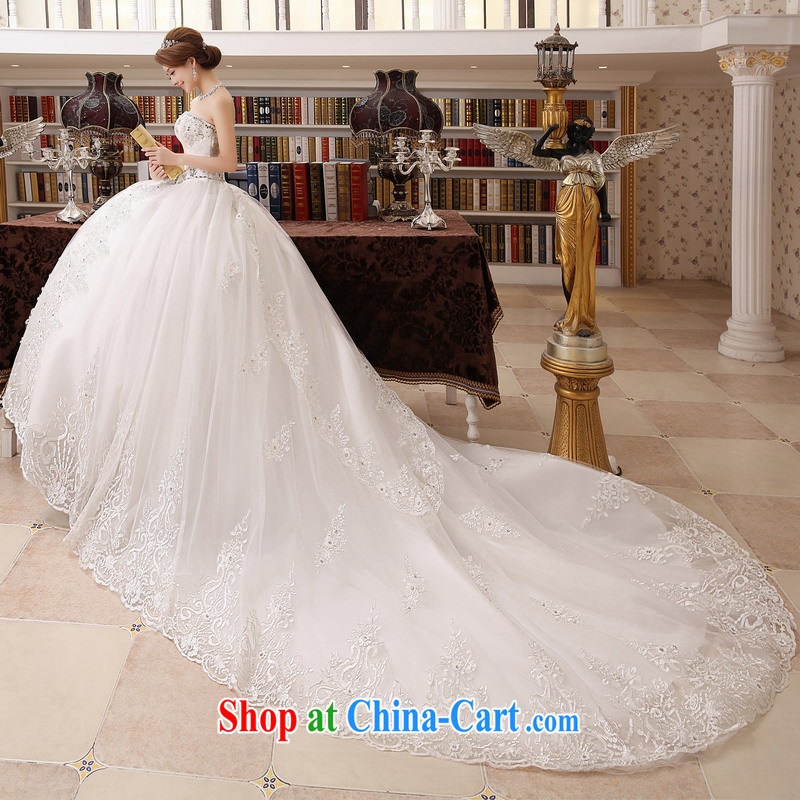 Mrs Alexa Lam away new erase chest water drilling wedding embroidered marriages married Yi Korean long-tail 18,181 white S (2.0)