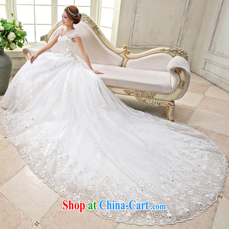 Mrs Alexa Lam unpunished new 2014 package shoulder tail wedding dresses Korean version with a shoulder-length tail graphics thin bridal wedding 15,881 white M (2.2)
