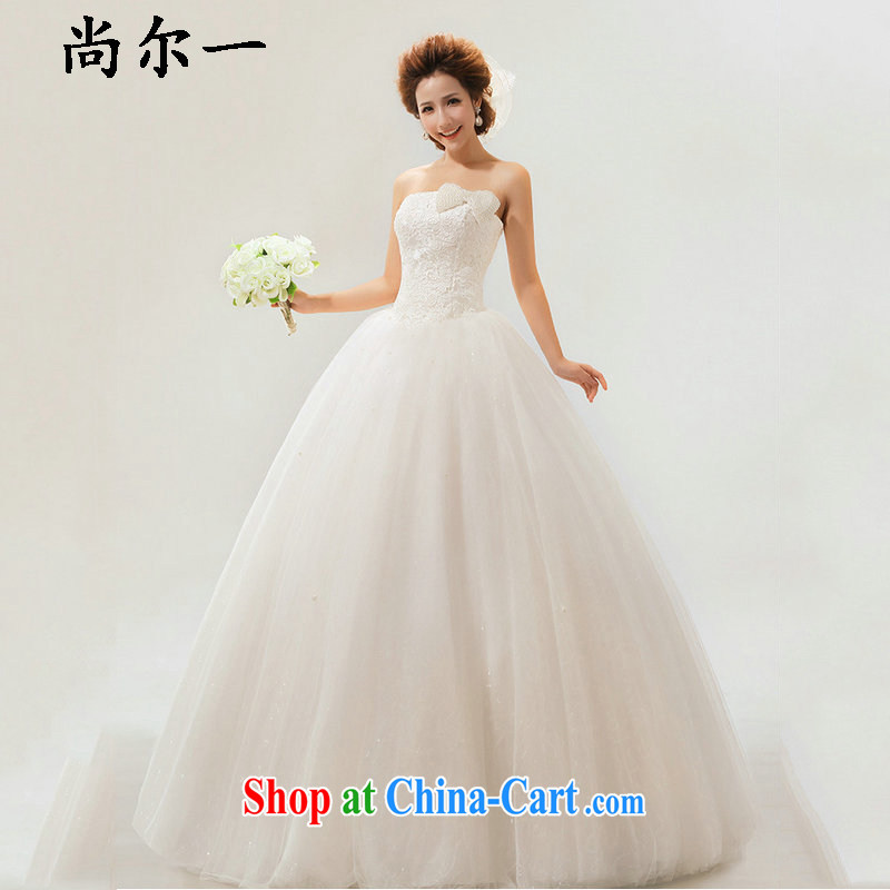 There is a Korean style sweet bow-tie lace bridal wedding dresses XS 5234 m White XL