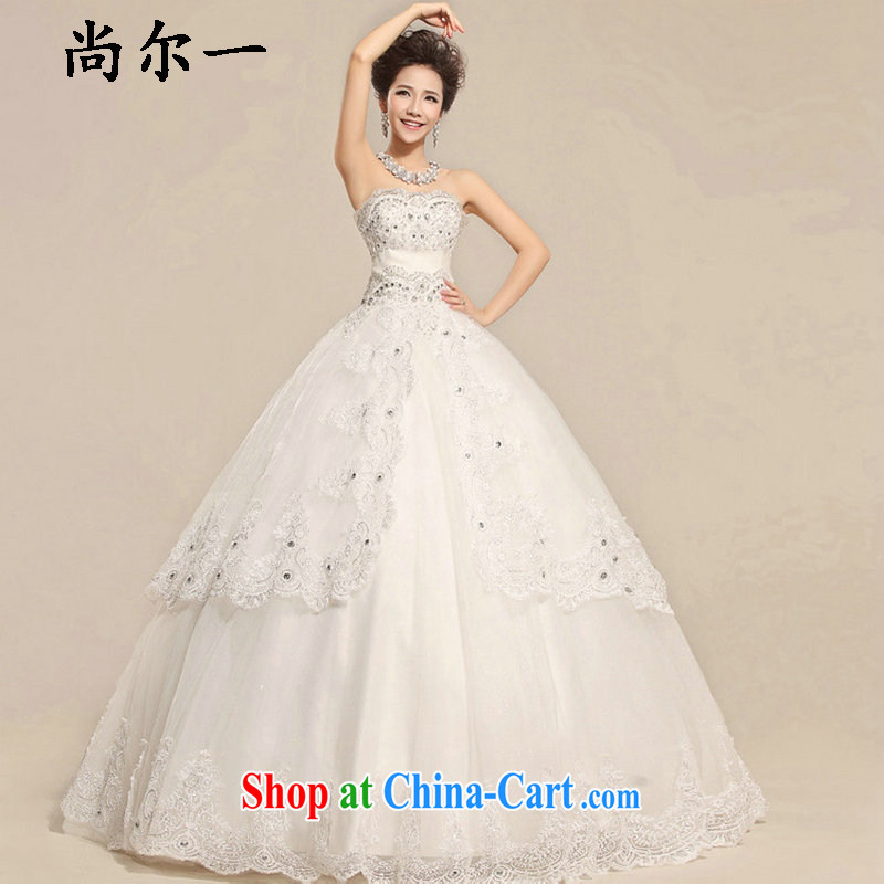 It's a bright, wipe decorated chest lace skirts and elegant royal wedding dresses XS 5221 m White XXL