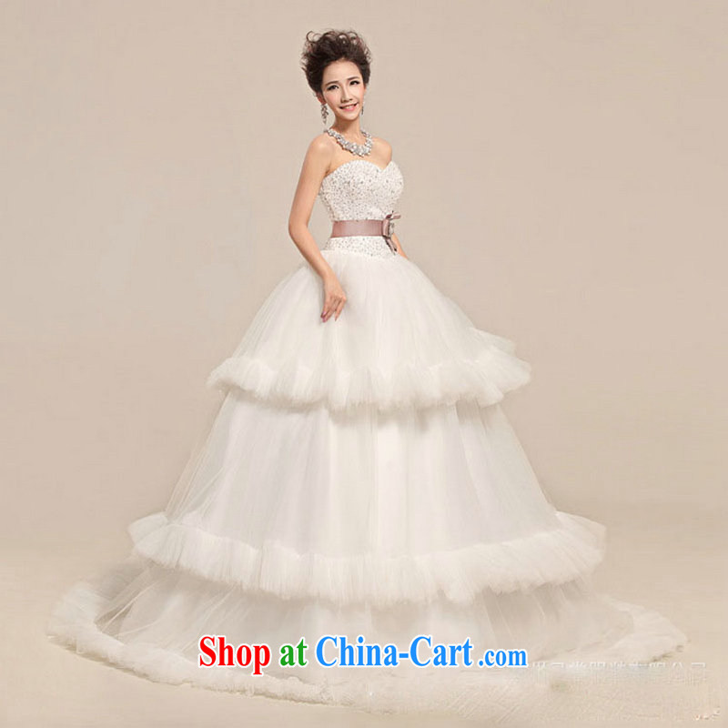 There is a Korean style shaggy skirt waist graphics thin straps bridal wedding dresses XS 5218 m White XXL