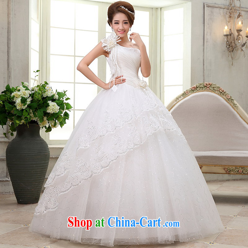 Mrs Alexa Lam go scot marriages married Yi single shoulder flowers tied with graphics thin wedding dresses Korean-style elegant home by 66,582 white L _2.4_
