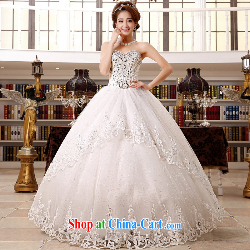 Mrs Alexa Lam growl Korean luxury diamond jewelry chest bare new 2014 shaggy dress bridal Wedding Video thin wedding dresses 65,982 white M
