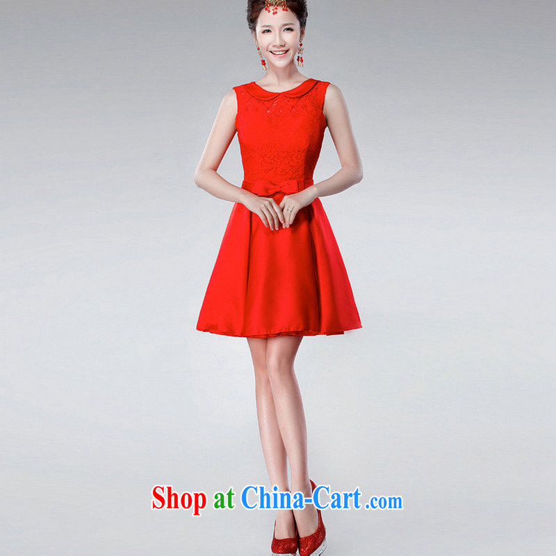 There is a red short dress 2014 new toast spring serving Korean version annual dress dress evening dress XS 6623 red XXL