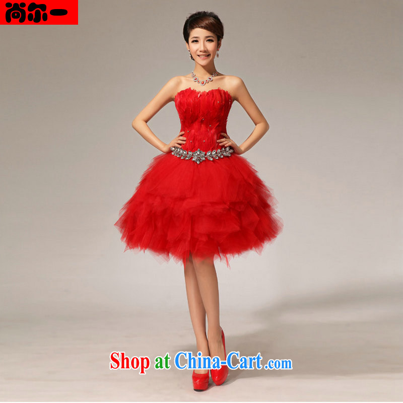 There is a red short erase chest lace short skirt married women bows dress new boudoir honey short dress XS 6622 red XXL