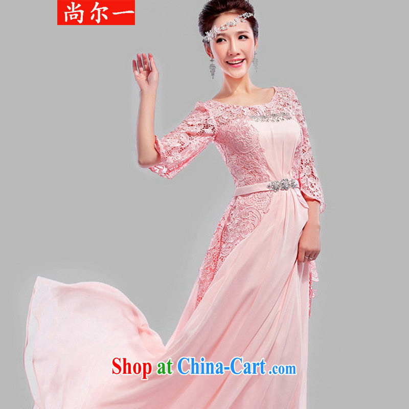 There's a wedding dresses bridal toast serving New 2014 dress married Korean wedding banquet long red XS 6620 meat pink XXL