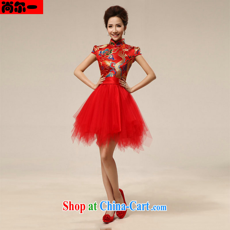 Still, 12,014 spring new Korean package shoulder short sleeve wedding dresses bridal wedding toast wedding dress small dress short XS 6603 red XXL