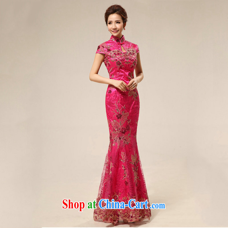 There's a qipao dress improved red bridal toast serving Chinese Antique ceremonial dress wedding cheongsam dress XS of 332 red L
