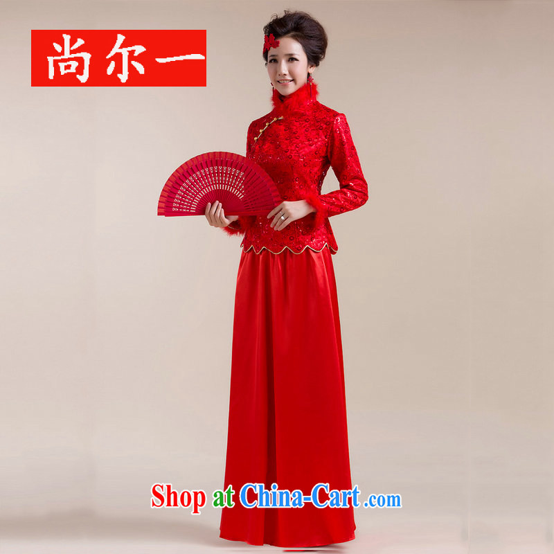 Still, 12,014 new Gross Gross for single cuff shoulder with flowers long skirt with drag and drop Chinese wedding dress XS 331 red XXL