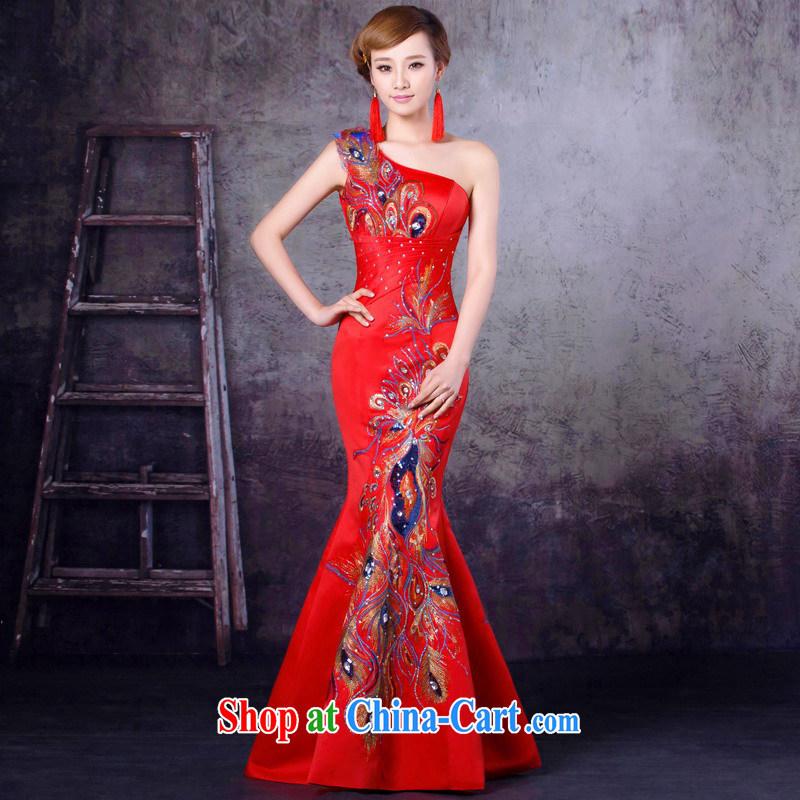 Mrs Alexa Lam growl 2014 new wedding dresses bridal wedding red wine served at Merlion cultivating single shoulder dress 16,252 red XXL