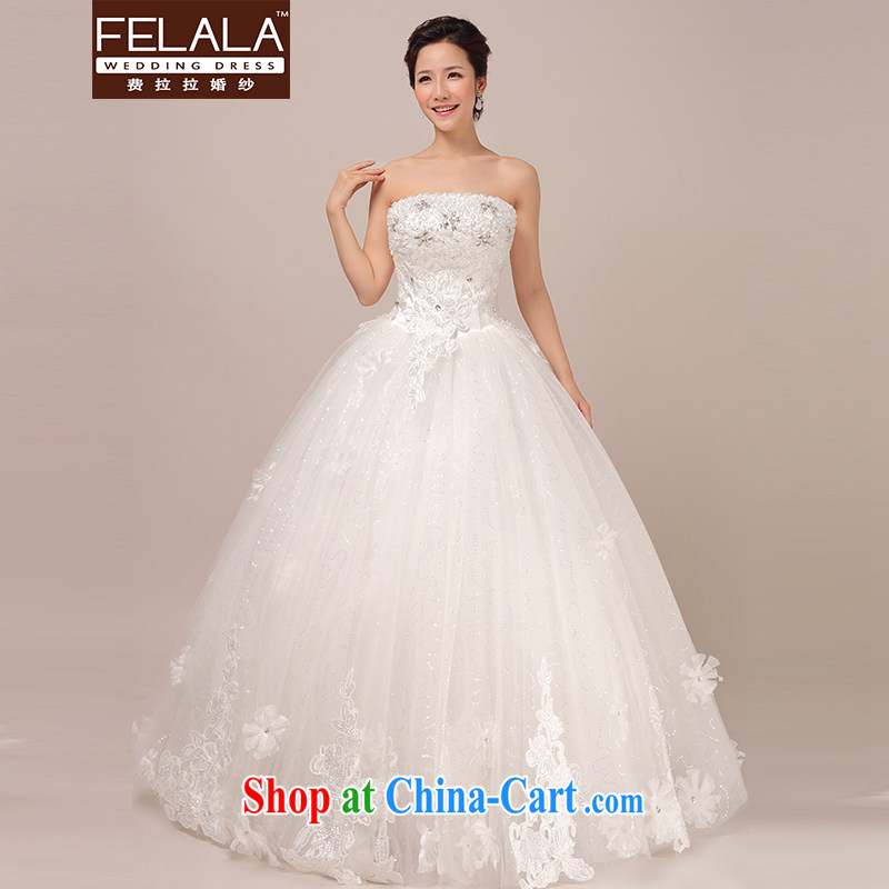 Ferrara wedding dresses new 2015 Korean wiped his chest to Princess shaggy dress graphics thin lace simple drill XL Suzhou shipping