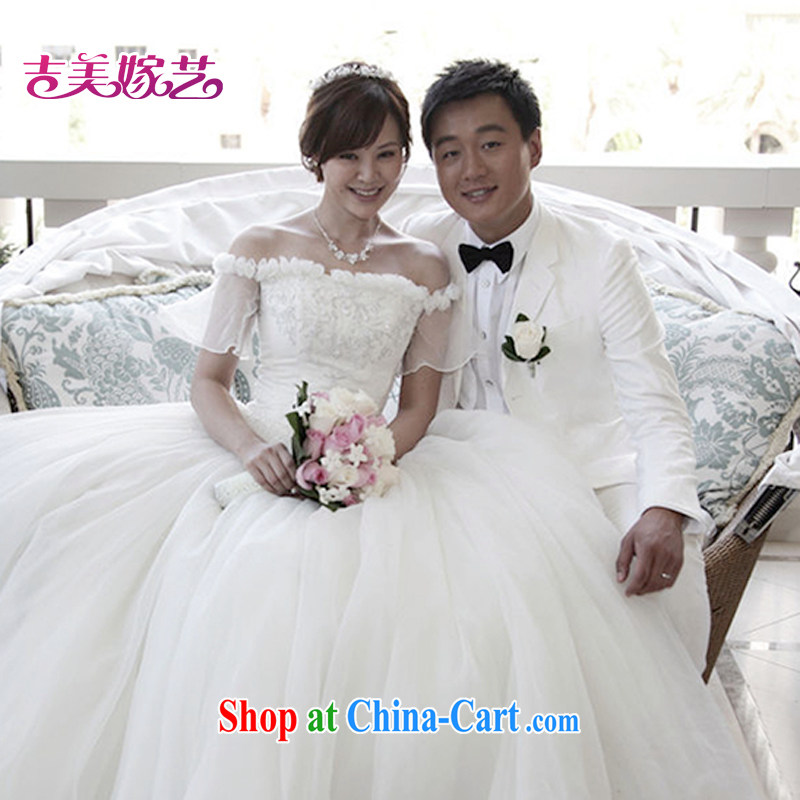 wedding dresses Jimmy married arts 2015 New Field shoulder Korean shaggy skirts HS 309 bridal wedding white XL