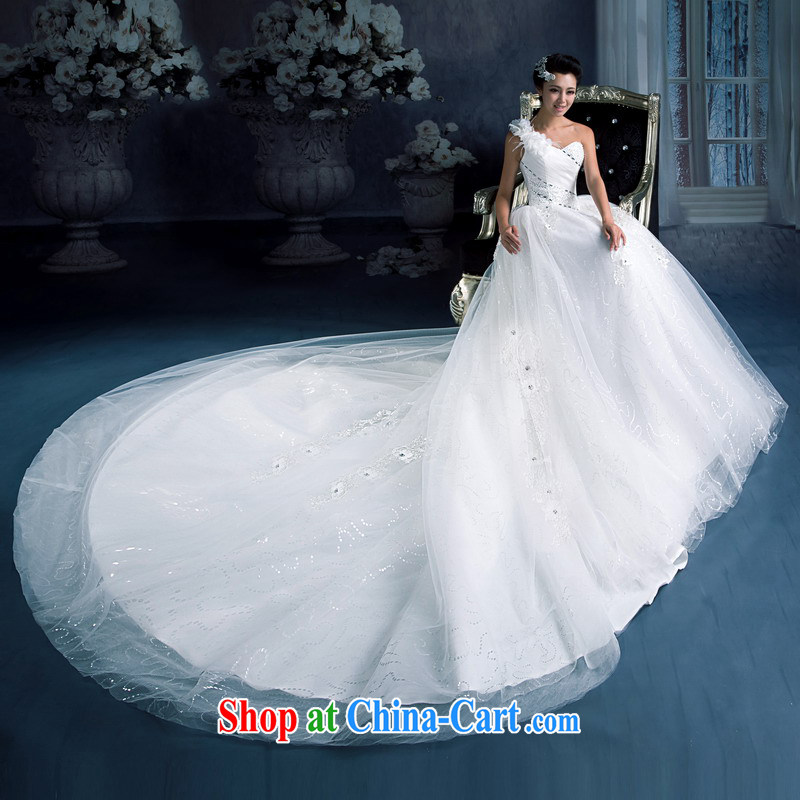 Mrs Alexa Lam unpunished new 2014 a shoulder-tail wedding bridal marriage long-tail with drill video thin shaggy skirts 15,581 white L