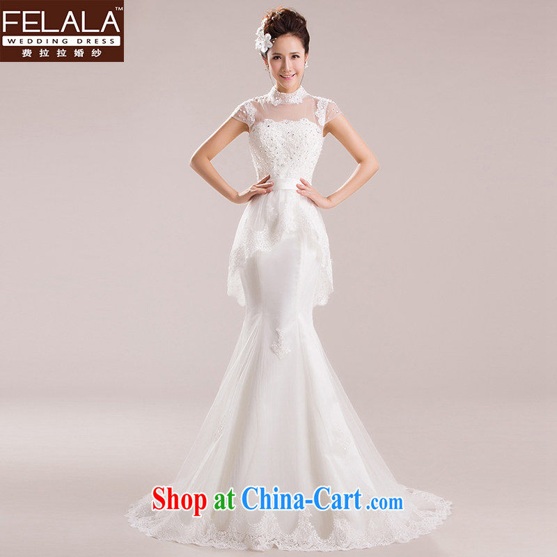 Ferrara 2015 new wedding a shoulder-waist crowsfoot small-tail lace skirt Korean-style Princess wedding dresses spring will do not return