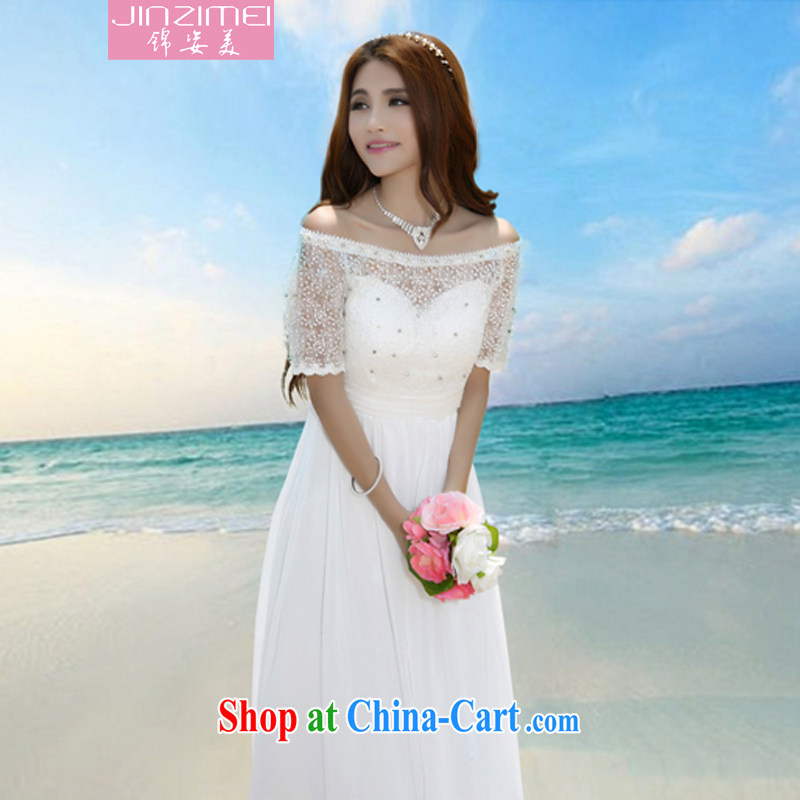 kam beauty 2014 new field for serial staples snow Pearl woven dresses bare shoulders short-sleeve beach skirts lace evening dress J 5092 white XL