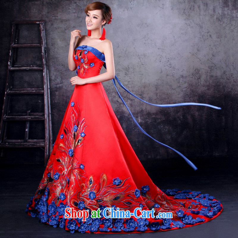 Mrs Alexa Lam go scot wedding dresses new bride toast serving blue flower-tail Performance Service Bridal wedding dresses 32,862 red S