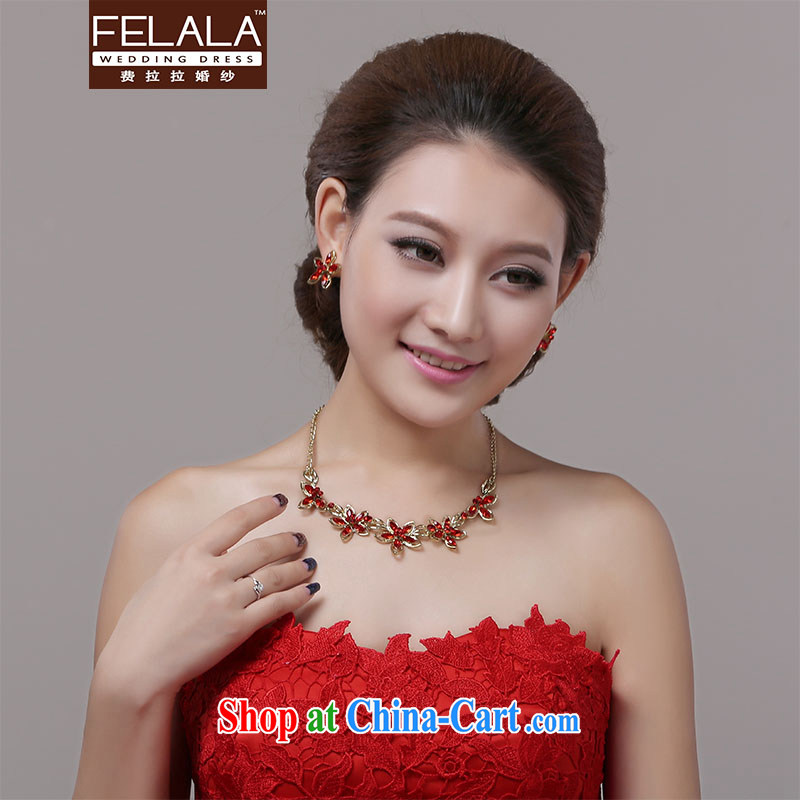 Ferrara jewelry red water diamond necklace earrings two-piece Korean-style minimalist water drilling flowers necklace kit