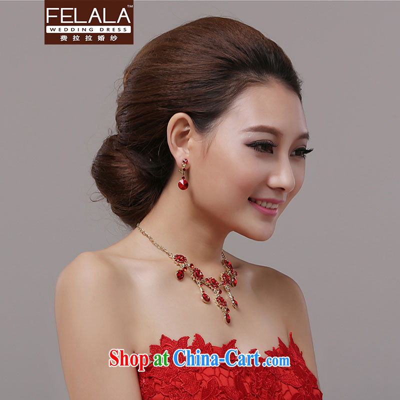 Ferrara jewelry bridal Red Sun Flower necklace jewelry 2 piece wedding dresses accessories jewelry marriage, La wedding (FELALA), shopping on the Internet