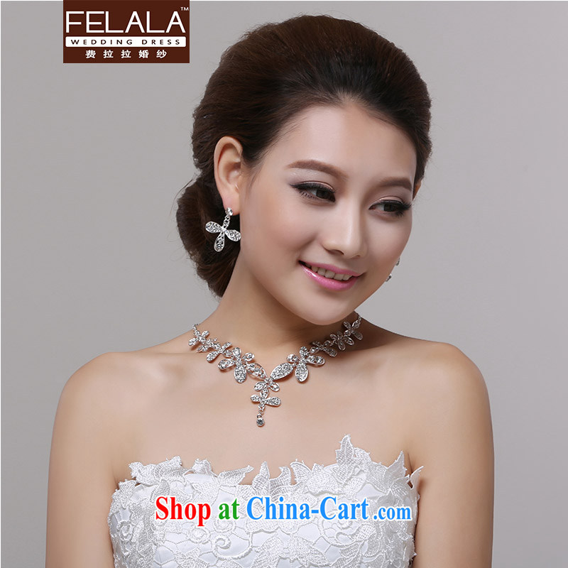 Ferrara marriage necklace set with Korean-style diamond 4 leaf D. necklace 2-piece set shadow floor with Colombia wedding accessories