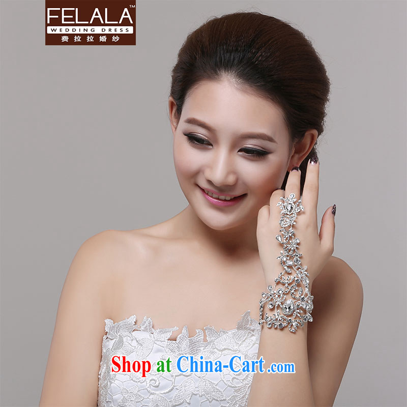 Ferrara retro flowers water drilling bridal Palace hand link marriage jewelry bracelet kit with ring wedding