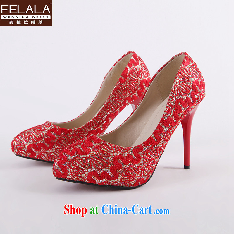 Ferrara 2014 New Red silk ballet shoes high-heel shoes Korean Princess single shoes bridal shoes bridal shoes 37