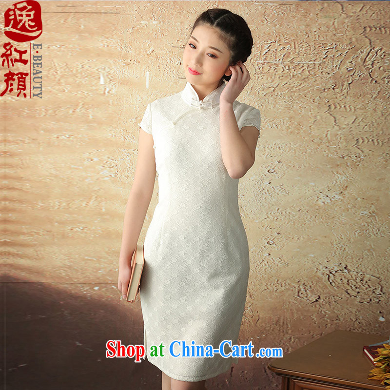 once and for all and flick proverbial hero Jade 2015 summer new lace improved short-sleeved dresses retro elegant qipao dresses white 2XL