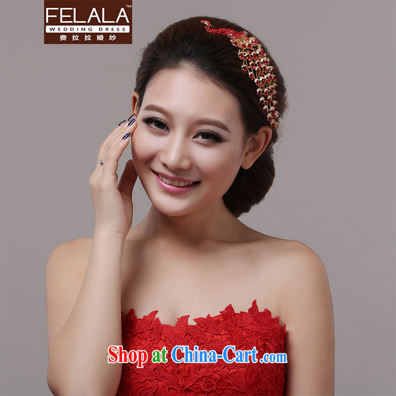 Ferrara red Peacock hair accessories bridal wedding head-dress the red gold-plated Korean dress dresses accessories 2015 new
