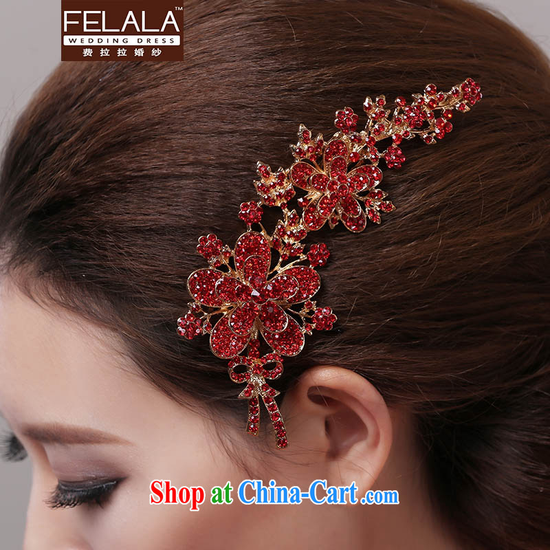 Ferrara bridal jewelry red marriage and red flowers gold hair accessories kit chain jewelry 2015 new products