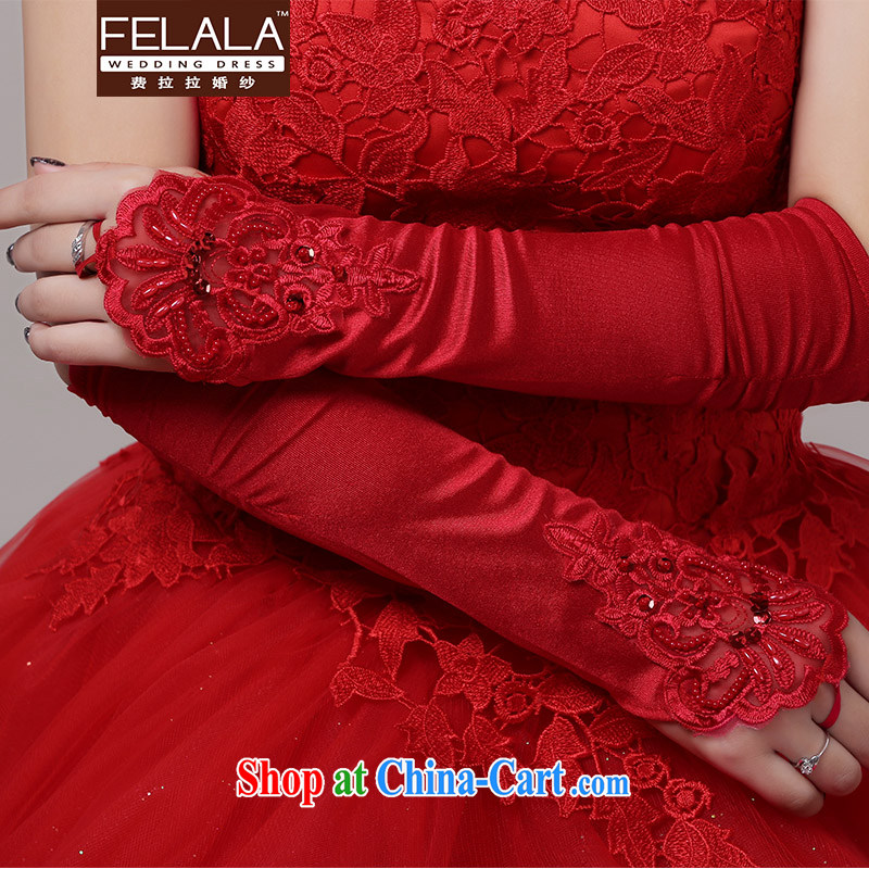 Ferrara bridal red Satin lace gloves wedding dresses mittens wedding wedding accessories