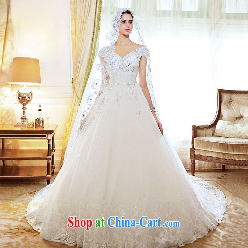Full court, shoulder Deep V collar tail wedding dresses S 21,470 new Korean wood drill English bride wedding tail 100 CM tailored