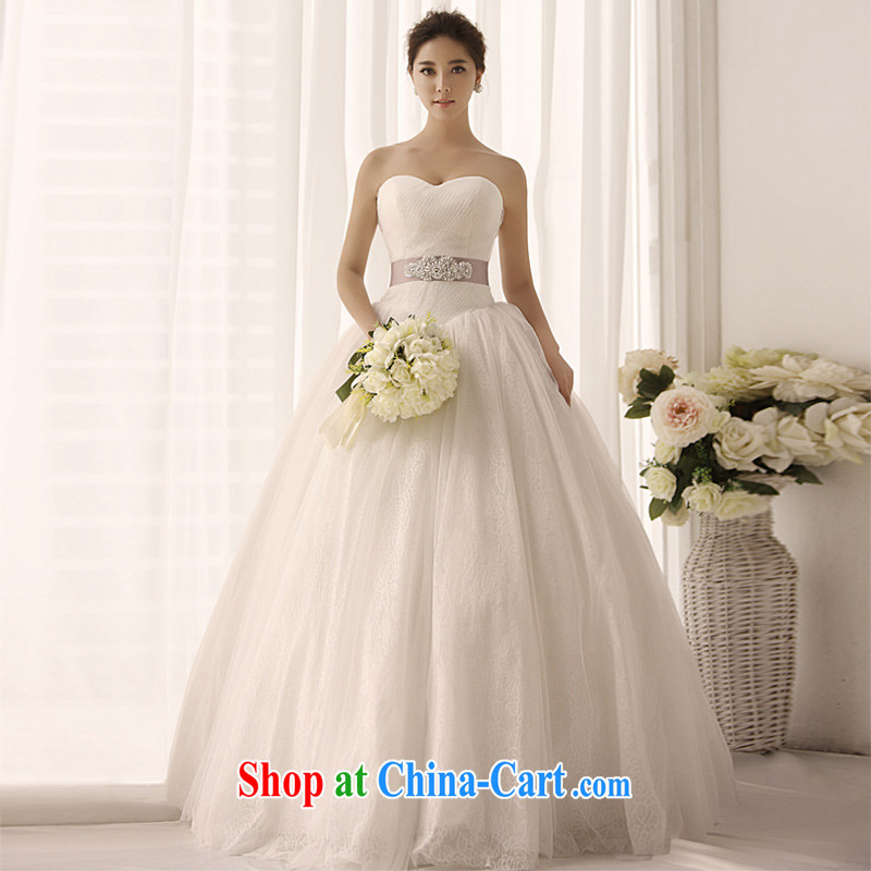 Garden 2015 new erase chest wedding S 1395 white shaggy made larger lace graphics thin wedding dresses-tail 100 173 cm - M