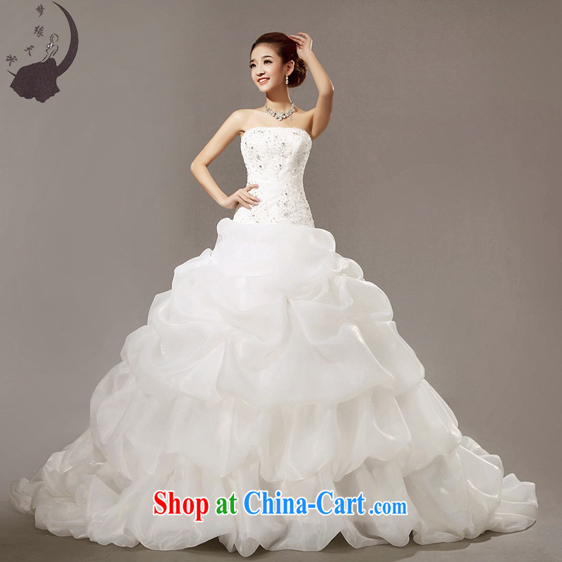 Dream of the day wedding dresses 2015, Japan, and South Korea Deluxe Big shaggy tail wedding dress H 5633 white tailored