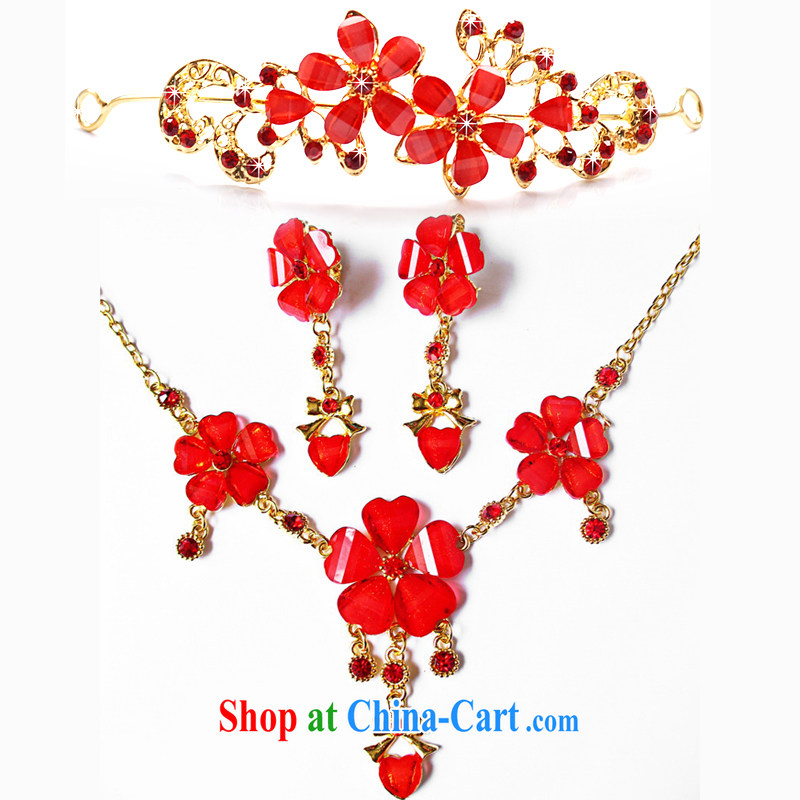 Mrs Alexa Lam go scot wedding dresses jewelry Korean Kit necklace Crown new 2014 red flower petals 3 Piece Set 03,516