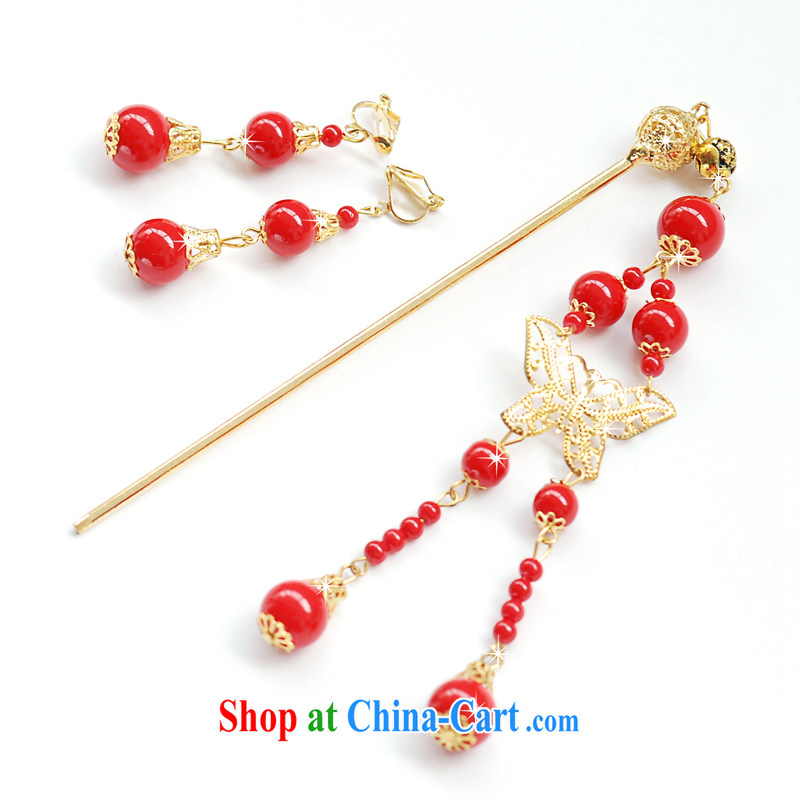 Mrs Alexa Lam unpunished new Ornate Kanzashi earrings Kit marriages red most costumes dresses hair accessories 03,512