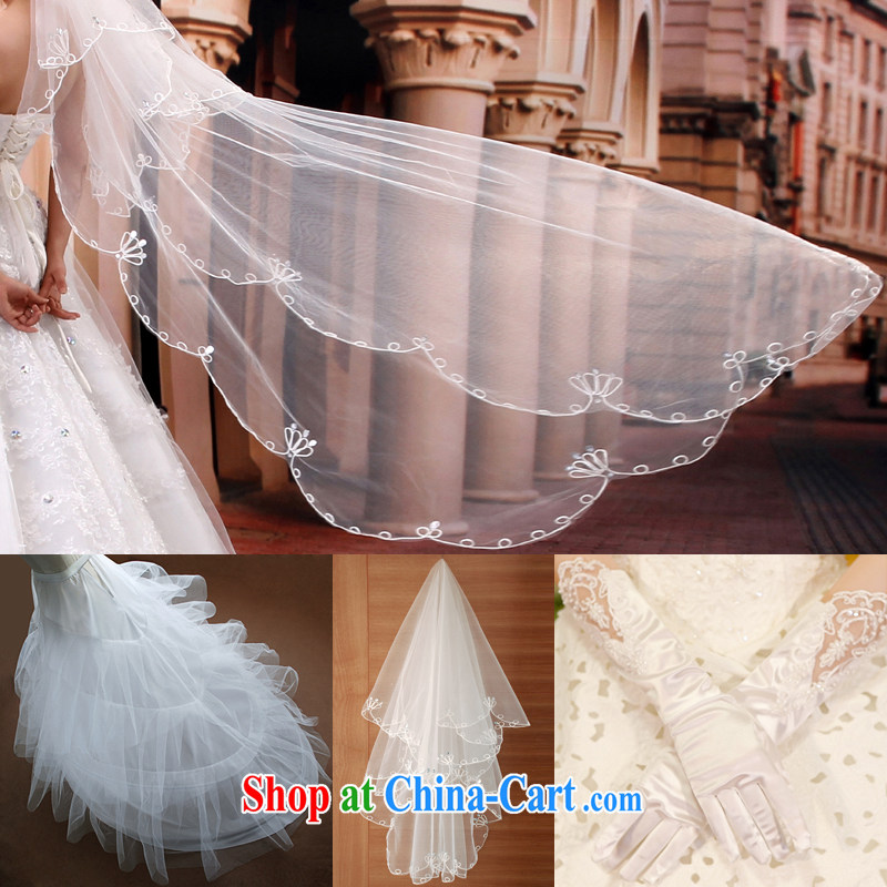 Mrs Alexa Lam go scot wedding stylish 3-Piece tail skirt stays bridal head-dress satin gloves wedding accessories 03,830