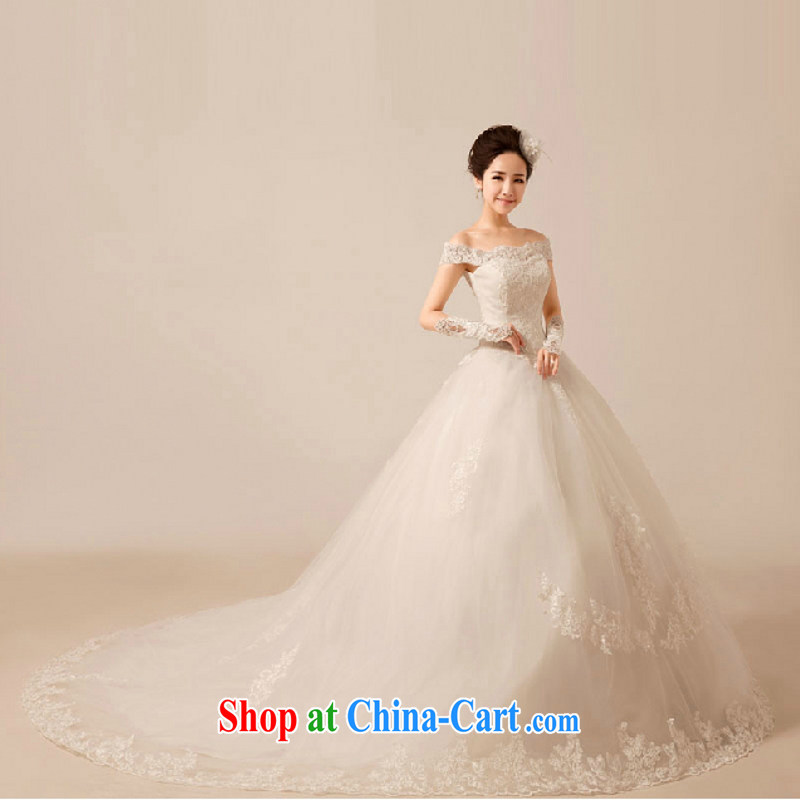 In accordance with the preceding yarn wedding dresses new 2015 luxury one shoulder lace-tail sweet Princess tie-down wedding white-tail up to size is not final, Yong Yan good offices, shopping on the Internet