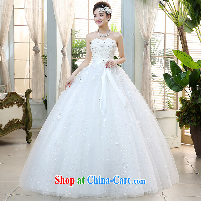 The United States, wedding dresses 2015 new bride wedding chest bare water drilling flowers Korean-style binding with sweet beauty graphics thin wedding H - 39 white M