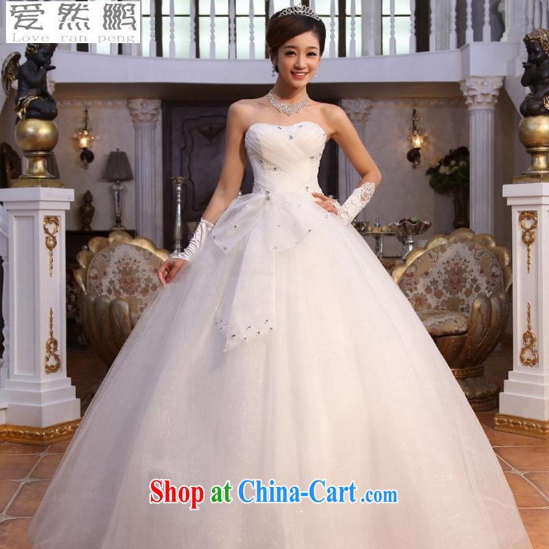 Love so Peng 2015 stars, with winter Korean elegant sweet Princess with bare chest drill video thin wedding dresses white XL pieced