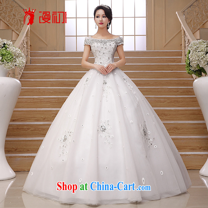 Early definition wedding dresses new 2015 retro Korean layout with graphics thin Luxury Water drilling package shoulder a shoulder wedding white L