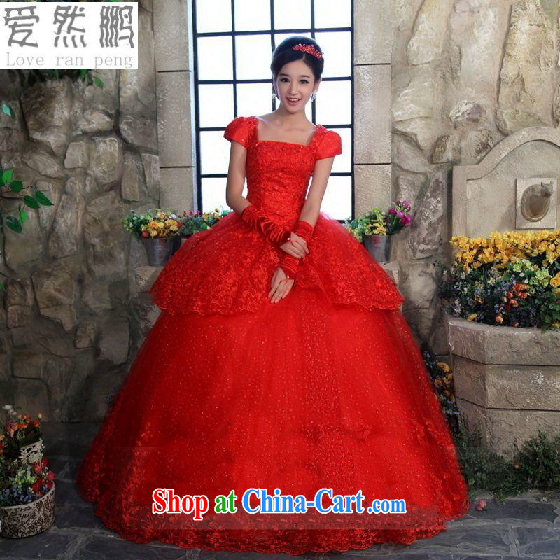 Love so Peng-red wedding dresses new 2015 lace wedding dresses Korean Princess with wedding tie-shoulder bag red customers to size will not be returned.
