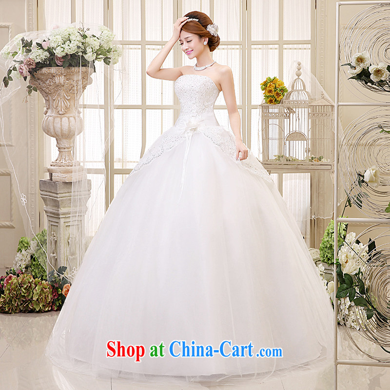 The United States, wedding dresses 2015 new Korean Princess bride wedding Mary Magdalene Chest straps stylish sweet flowers, cultivating graphics thin H - 40 white XXL code waist 2.3 feet