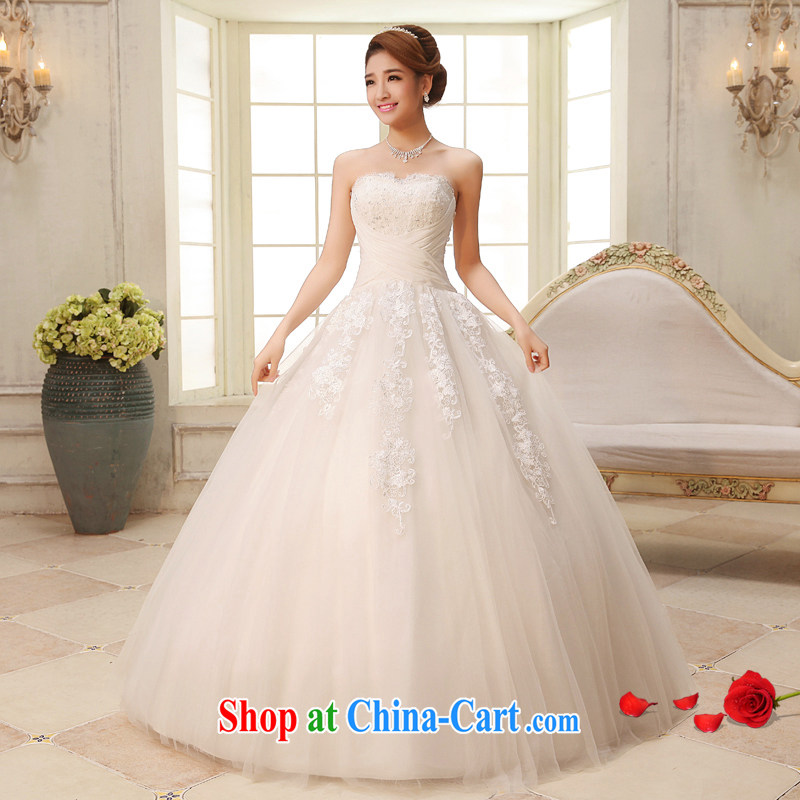 The United States, wedding dresses 2015 new strap sweet marriages Mary Magdalene chest Princess lace wedding dresses Korean Beauty graphics thin H - 36 white XXL