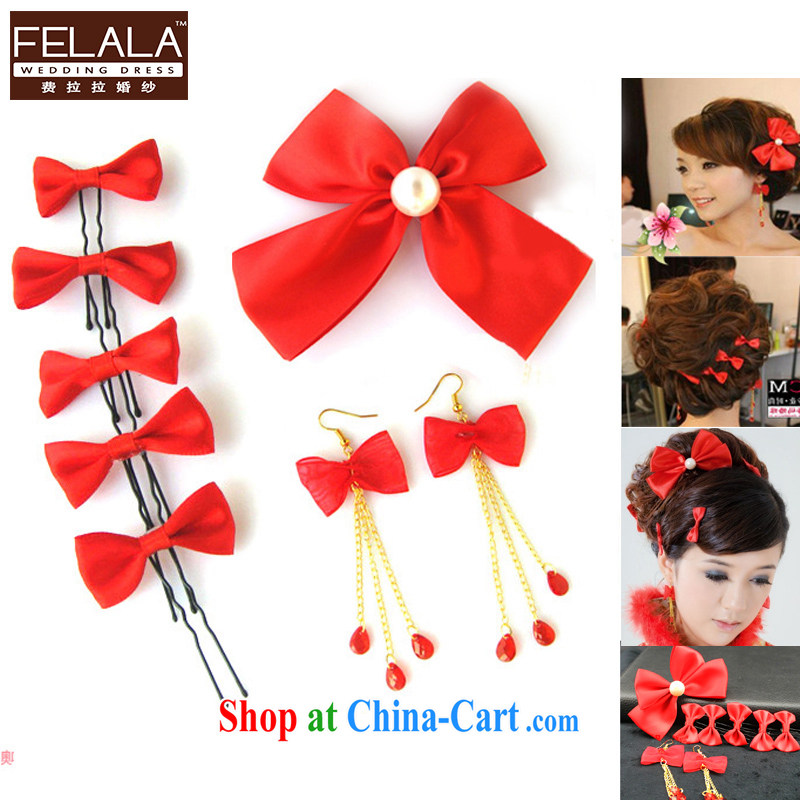 Ferrara sweet bow-tie 8 piece bridal headdress bridal jewelry red